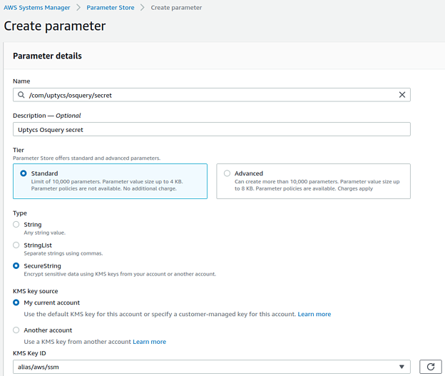 Storing a SecureString in the AWS Systems Manager Parameter Store.
