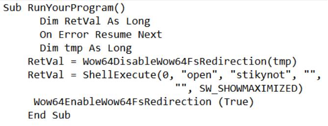 VBA macro using Wow64DisableWoW64FsRedirection API.