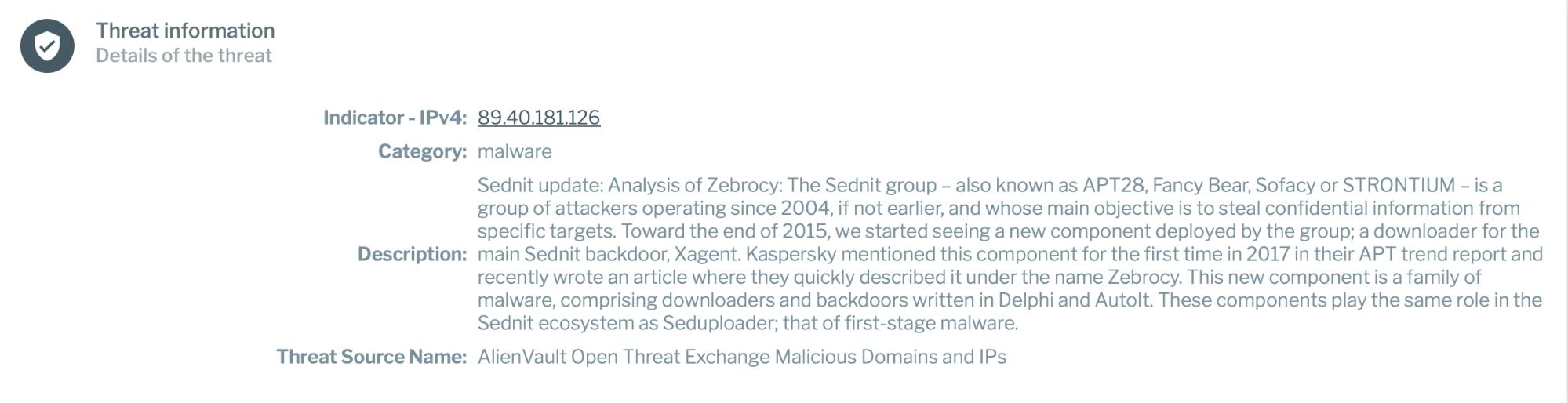 Threat information